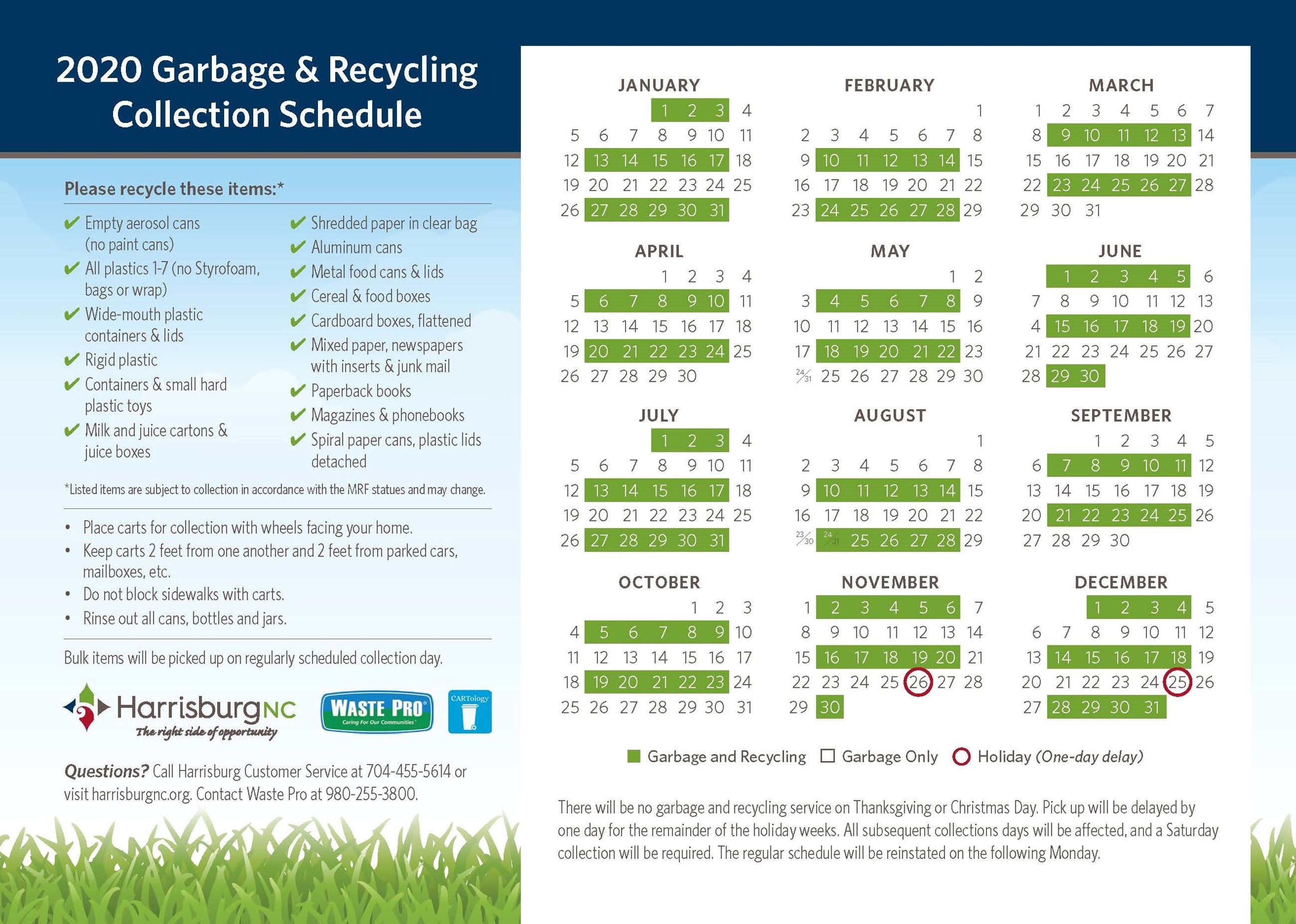 2020 Garbage and Recycling CalendarPage1