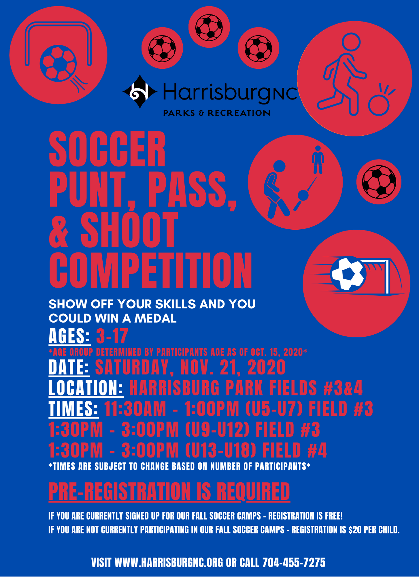 Harrisburg Parks and Recreation - Soccer Punt, Pass, and Shoot Competition Flyer
